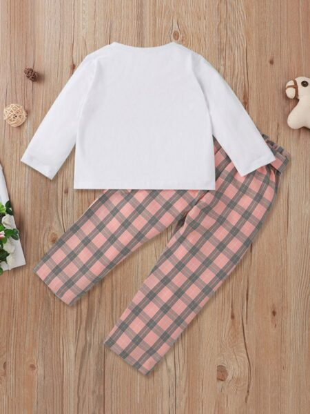 Be Look Here I Am Fashion Checked Print Kid Girls Outfits Sets Fashion Girl Wholesale  Wholesale GIRLS 2021-09-10