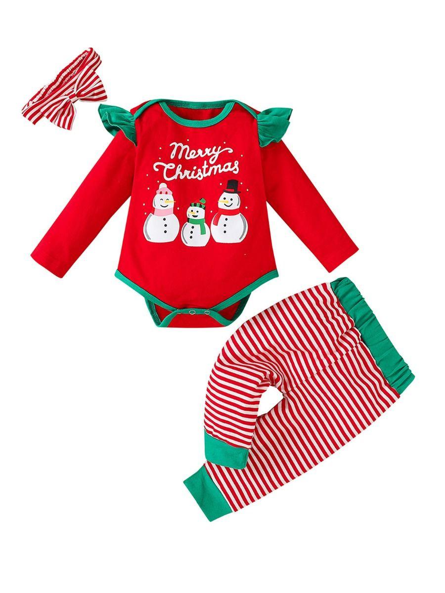 Merry Christmas Snowman Print Bodysuit & Striped Pants & Headband Wholesale Baby Clothes Sets  Wholesale