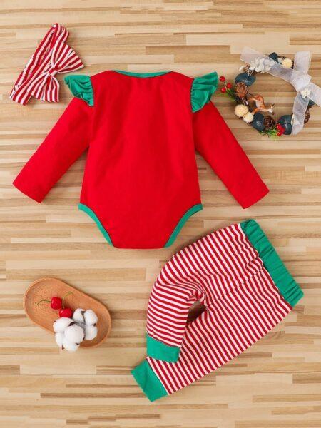 Merry Christmas Snowman Print Bodysuit & Striped Pants & Headband Wholesale Baby Clothes Sets  Wholesale 2