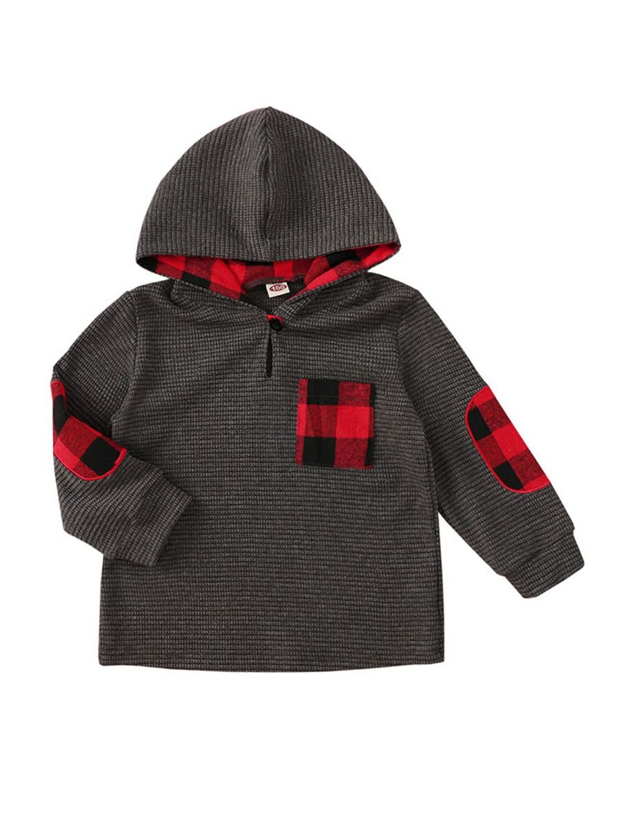Checked Decor Kid Hoodies  Wholesale 2