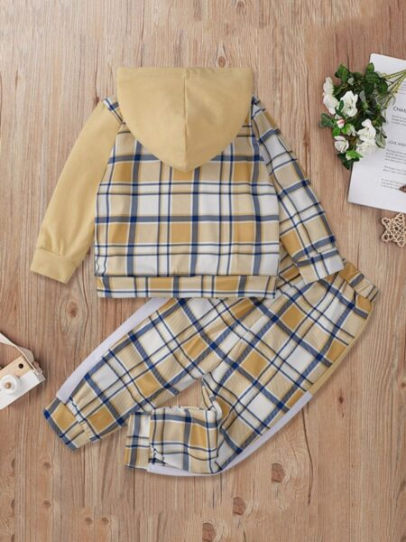 Checked Hoodies With Pants Kid Girls Sets Wholesale Girls Clothes  Wholesale 2