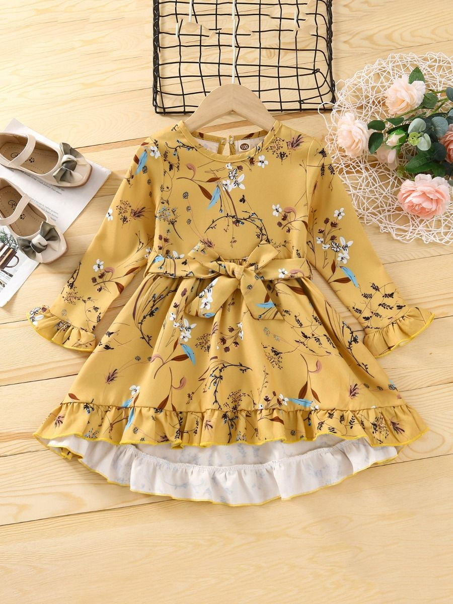 Flower Print Hi Lo Ruffle Hem Dresses For Girl Wholesale Girls Clothes  Wholesale DRESSES 2021-09-13