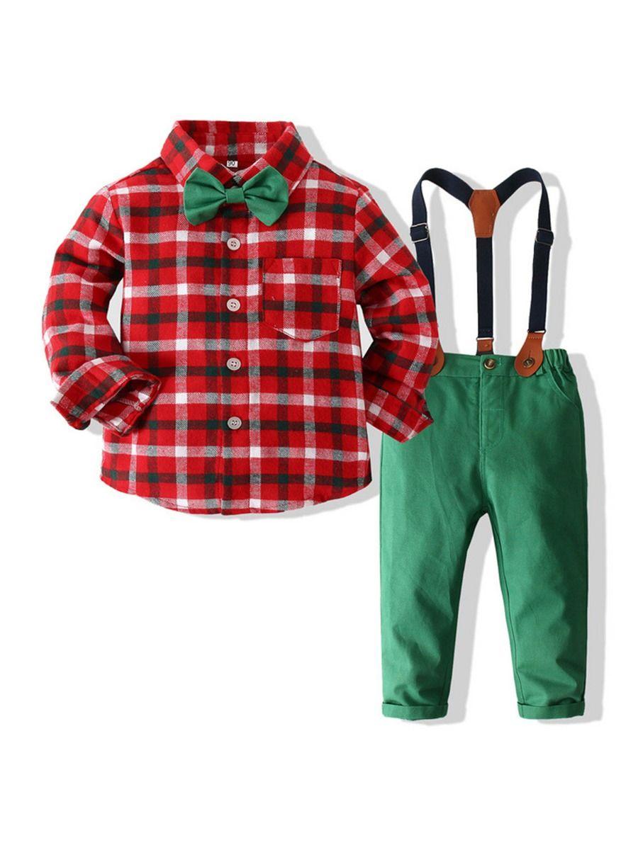 Christmas Boys Suit Sets Plaid Bowtie Shirt & Suspender Pants Wholesale Boy Clothes  Wholesale