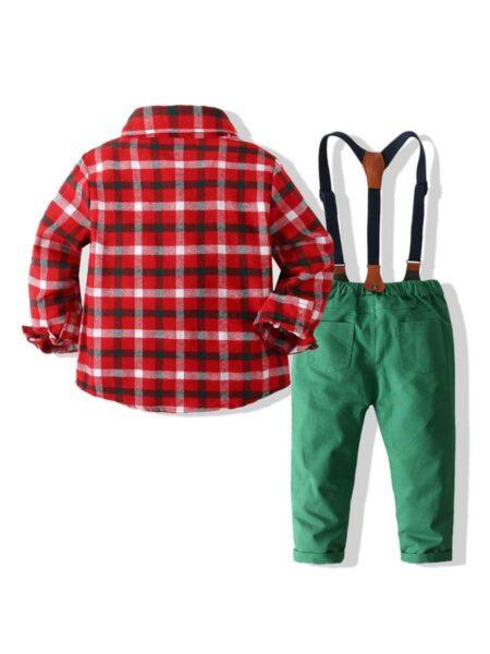 Christmas Boys Suit Sets Plaid Bowtie Shirt & Suspender Pants Wholesale Boy Clothes  Wholesale 2