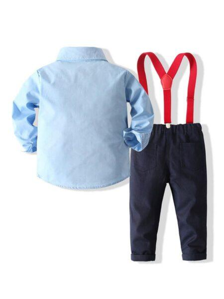 Boys Suit Sets Solid Color Bowtie Shirt & Suspender Pants Wholesale Boy Clothing  Wholesale BABIES 2021-09-15