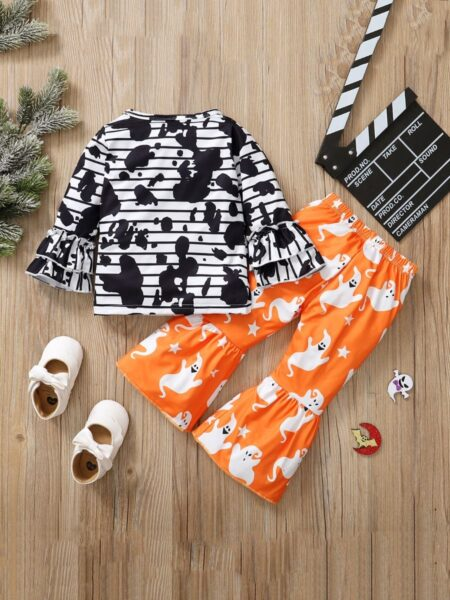 Halloween Ghost Print Flared Sleeve Top And Pants Wholesale Little Girl Clothing Sets  Wholesale Sets 2