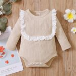 Lace Trim Ribbed Baby Girl Bodysuit Wholesale Baby Clothes  Wholesale 8