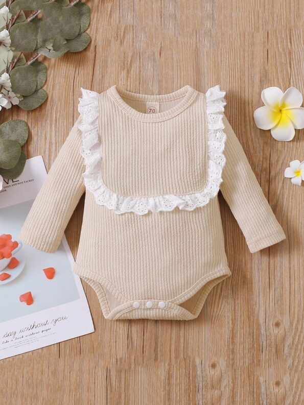 Lace Trim Ribbed Baby Girl Bodysuit Wholesale Baby Clothes  Wholesale 18