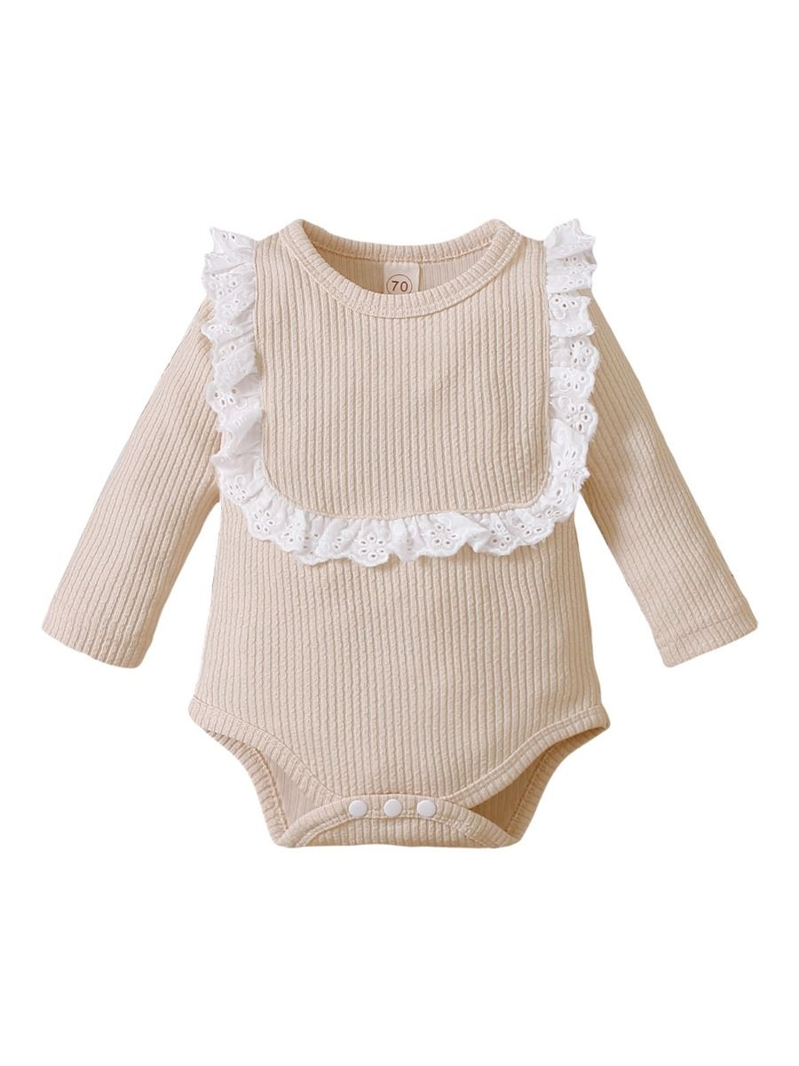 Lace Trim Ribbed Baby Girl Bodysuit Wholesale Baby Clothes  Wholesale 2