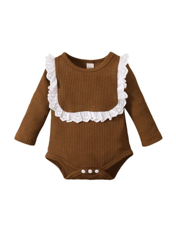 Lace Trim Ribbed Baby Girl Bodysuit Wholesale Baby Clothes  Wholesale 14