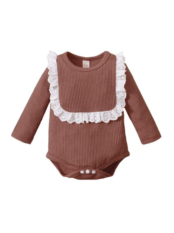 Lace Trim Ribbed Baby Girl Bodysuit Wholesale Baby Clothes  Wholesale 16