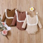 Lace Trim Ribbed Baby Girl Bodysuit Wholesale Baby Clothes  Wholesale 3
