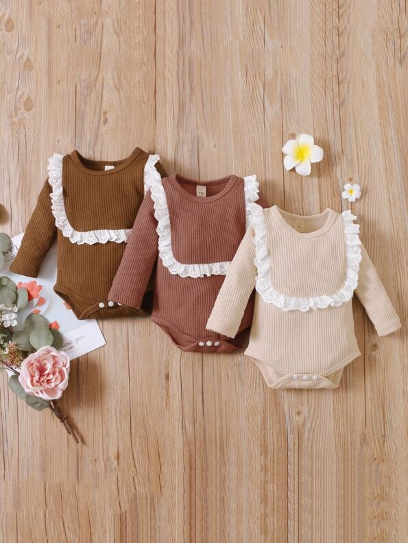 Lace Trim Ribbed Baby Girl Bodysuit Wholesale Baby Clothes  Wholesale 13