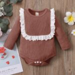 Lace Trim Ribbed Baby Girl Bodysuit Wholesale Baby Clothes  Wholesale 7