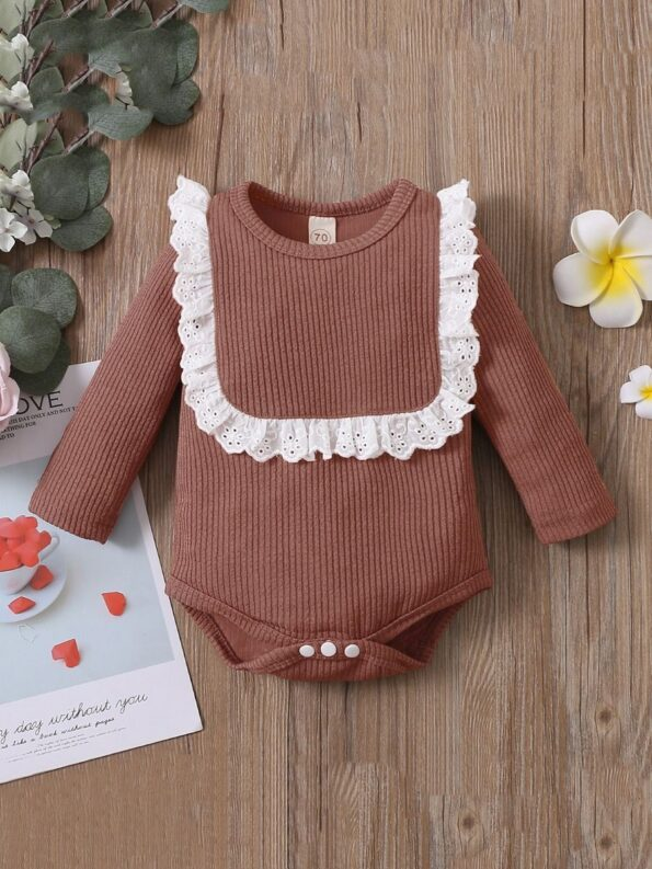 Lace Trim Ribbed Baby Girl Bodysuit Wholesale Baby Clothes  Wholesale 17