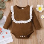 Lace Trim Ribbed Baby Girl Bodysuit Wholesale Baby Clothes  Wholesale 5