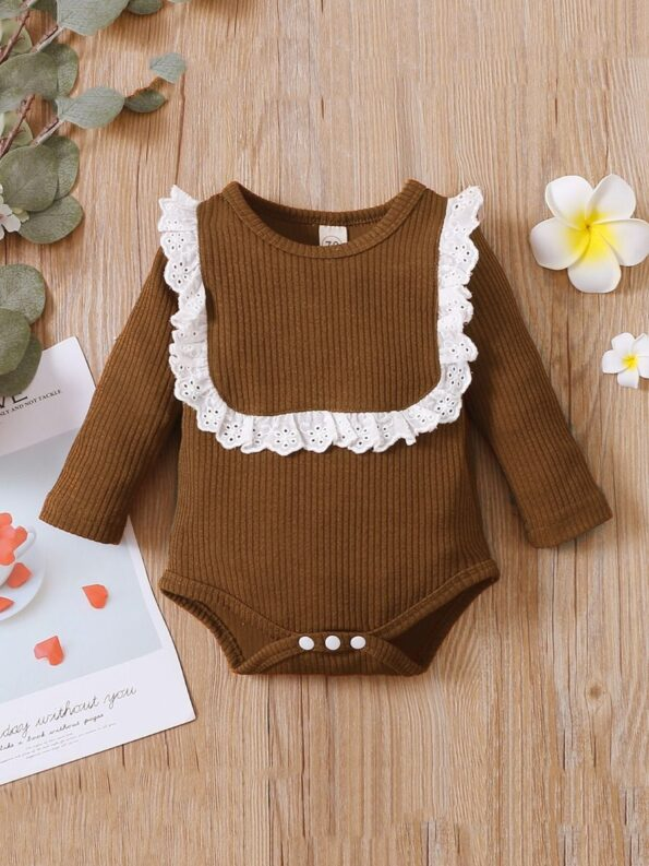 Lace Trim Ribbed Baby Girl Bodysuit Wholesale Baby Clothes  Wholesale 15