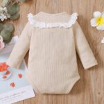 Lace Trim Ribbed Baby Girl Bodysuit Wholesale Baby Clothes  Wholesale 9