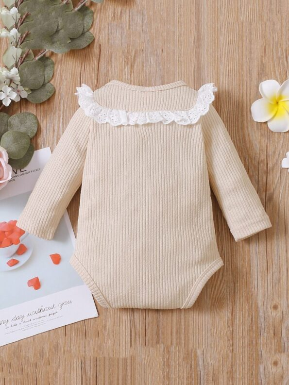 Lace Trim Ribbed Baby Girl Bodysuit Wholesale Baby Clothes  Wholesale 19