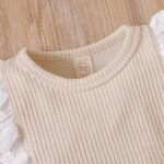 Lace Trim Ribbed Baby Girl Bodysuit Wholesale Baby Clothes  Wholesale 11