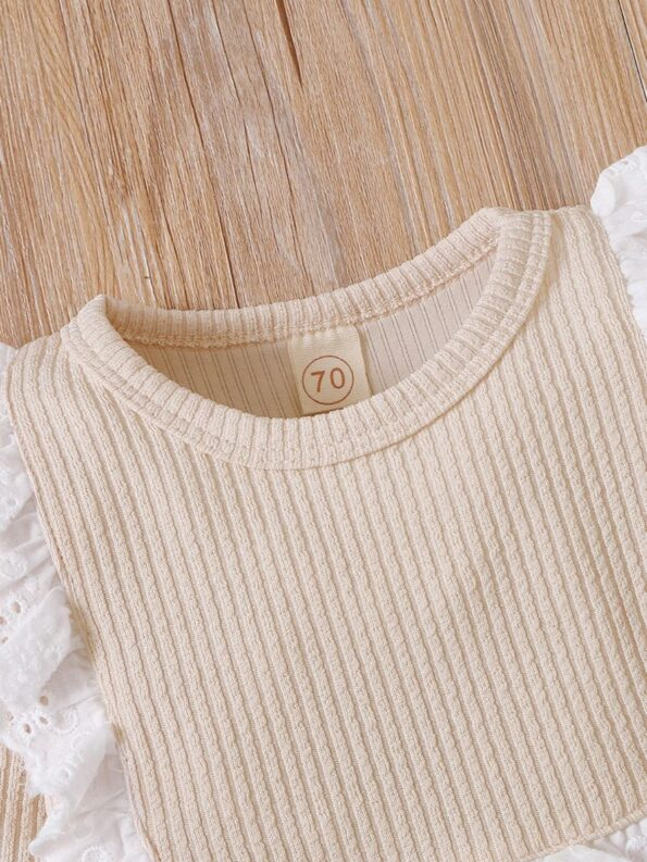Lace Trim Ribbed Baby Girl Bodysuit Wholesale Baby Clothes  Wholesale 21