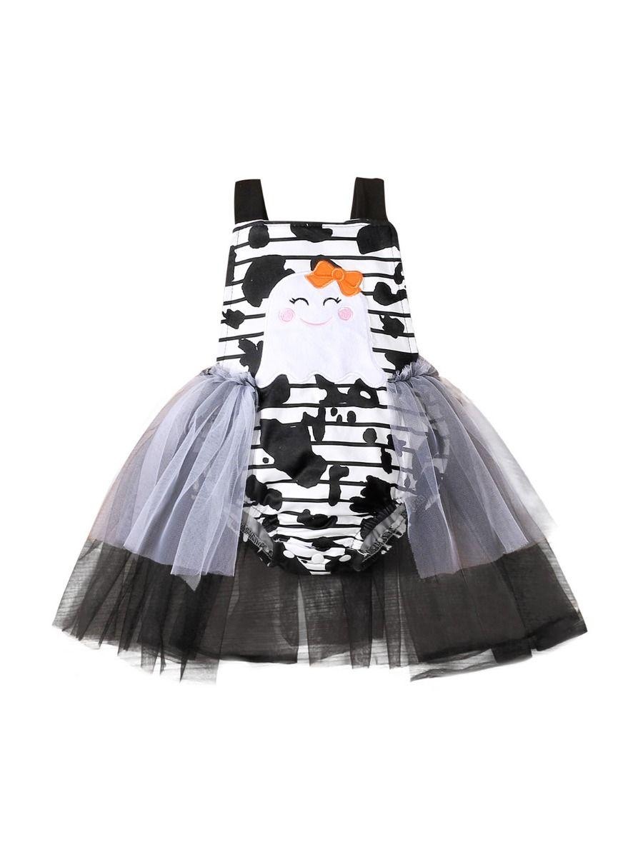 Halloween Ghost Print Mesh Bodysuit Dresses For Girl Wholesale Baby Clothing  Wholesale
