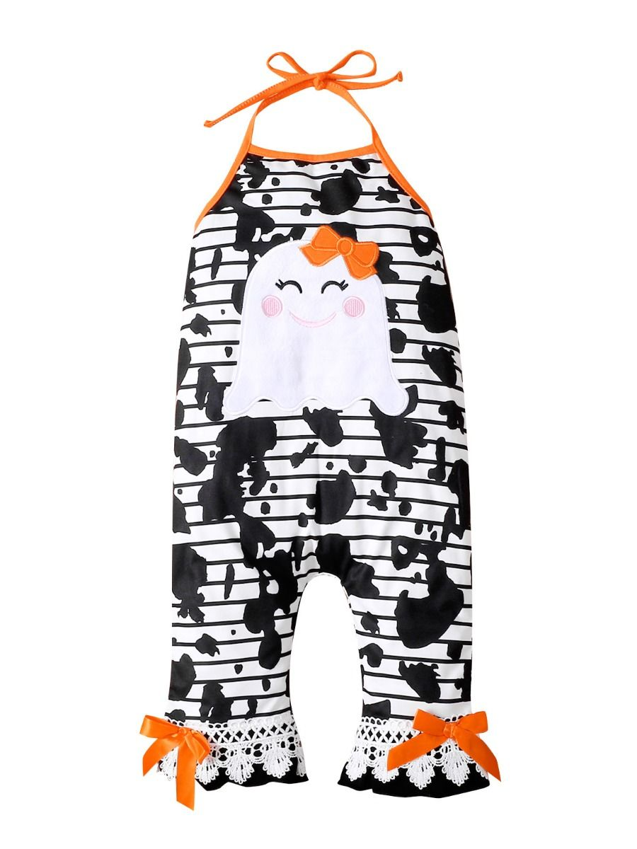 Halloween Ghost Halter Neck Jumpsuit For Girl Wholesale Baby Clothes  Wholesale