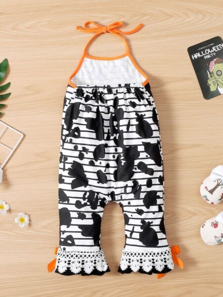 Halloween Ghost Halter Neck Jumpsuit For Girl Wholesale Baby Clothes  Wholesale 2