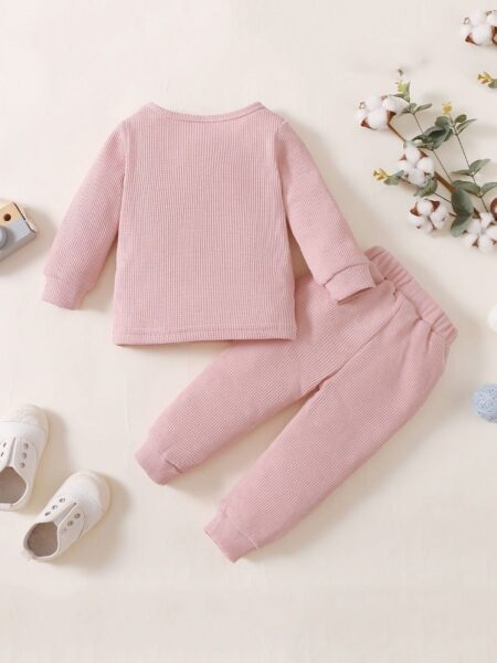 Solid Color Waffles Kids Wholesale Clothing Sets Top And Pants  Wholesale 2