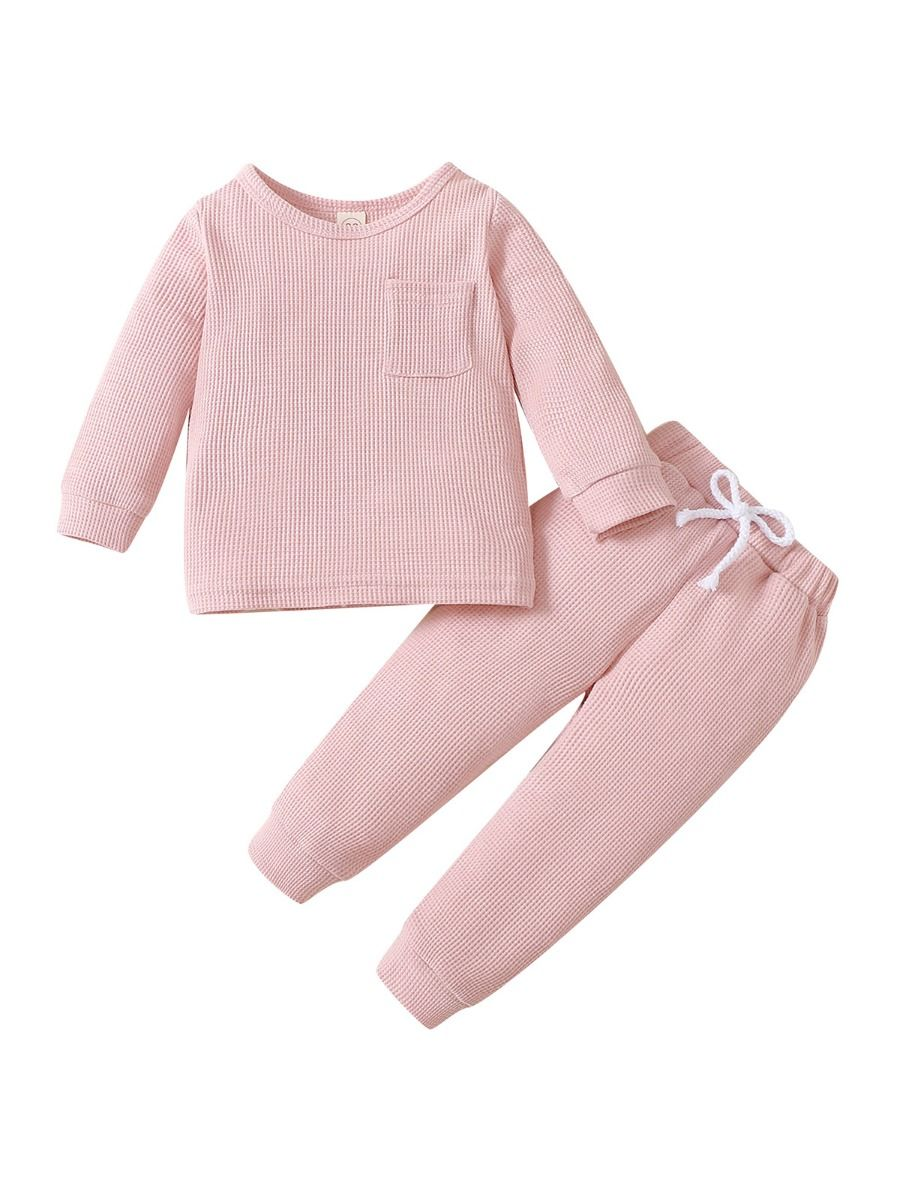 Solid Color Waffles Kids Wholesale Clothing Sets Top And Pants  Wholesale