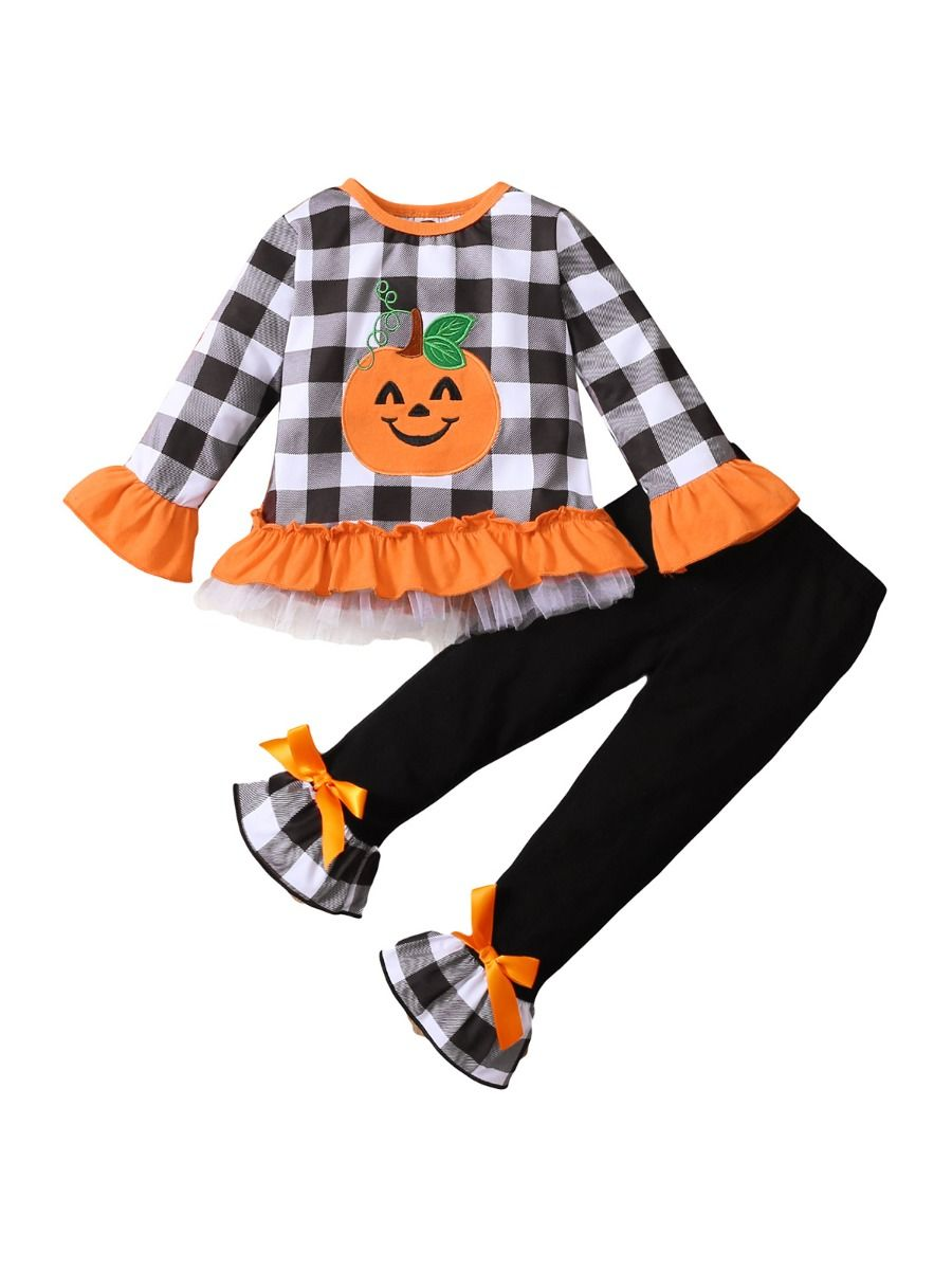 Halloween Checked Pumpkin Print Wholesale Girls Clothes Set Flared Pants With Top  Wholesale
