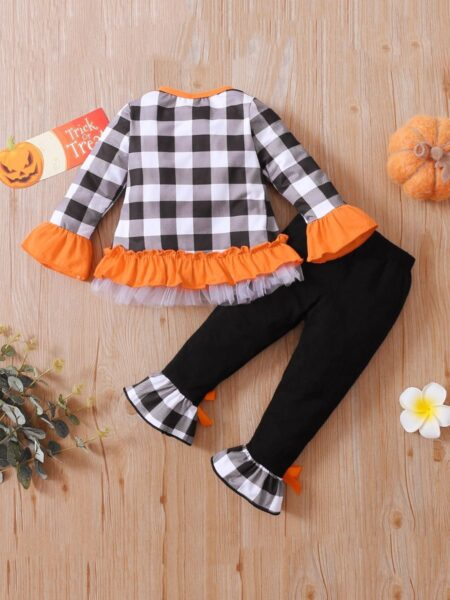 Halloween Checked Pumpkin Print Wholesale Girls Clothes Set Flared Pants With Top  Wholesale 2