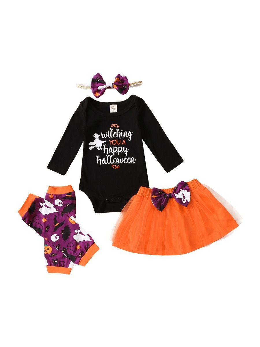 Witching You Happy Halloween Wholesale Baby Clothing Sets Bodysuit & Tutu Skirt & Headbnd & Leg Warmers  Wholesale