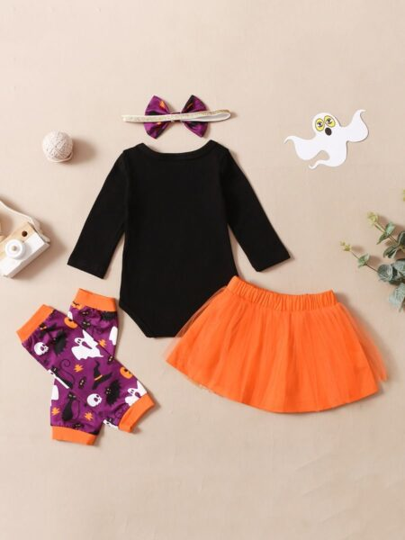 Witching You Happy Halloween Wholesale Baby Clothing Sets Bodysuit & Tutu Skirt & Headbnd & Leg Warmers  Wholesale 2