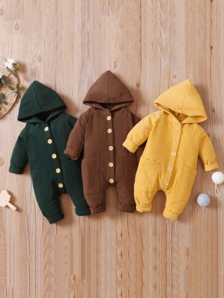 Solid Color Button Baby Hooded Jumpsuit Wholesale Baby Clothes  Wholesale BABIES 2021-09-07