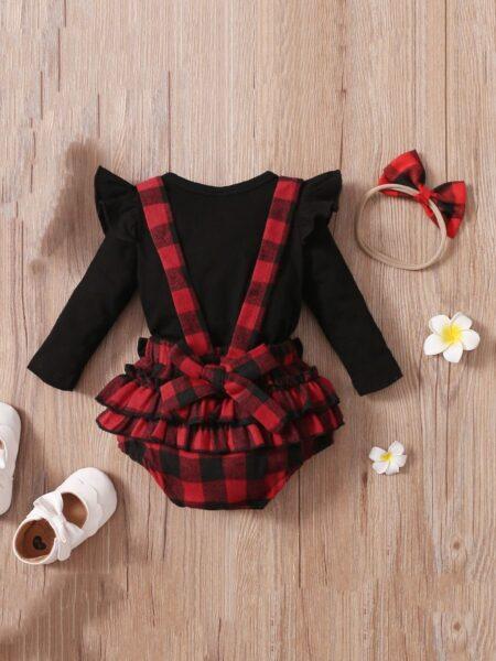 Wholesale Baby Clothing Sets Bodysuit & Checked Suspender Short & Headband  Wholesale BABIES 2021-09-07