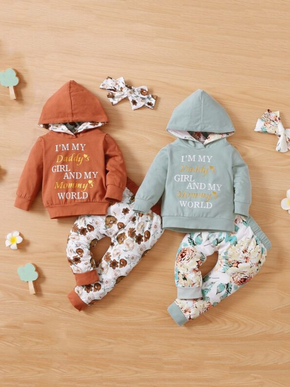 I'm My Daddy's Girl And My Mommy's World Flower Print Wholesale Baby Clothing Sets  Wholesale 16