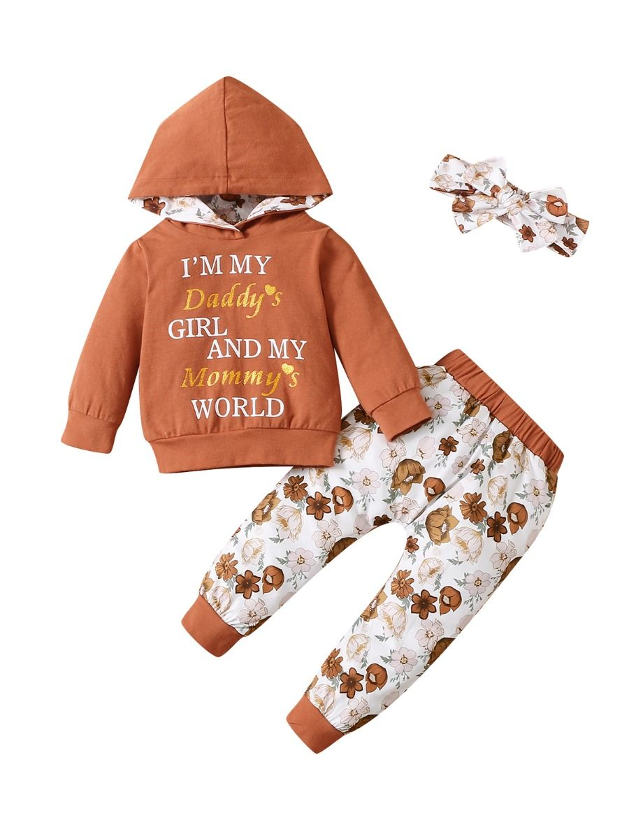 I'm My Daddy's Girl And My Mommy's World Flower Print Wholesale Baby Clothing Sets  Wholesale 2