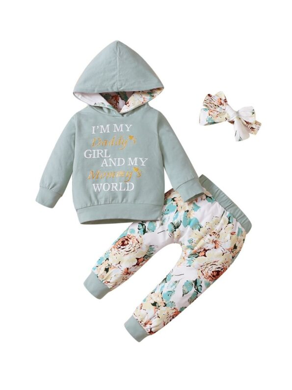 I'm My Daddy's Girl And My Mommy's World Flower Print Wholesale Baby Clothing Sets  Wholesale 14