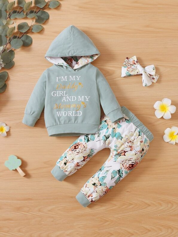 I'm My Daddy's Girl And My Mommy's World Flower Print Wholesale Baby Clothing Sets  Wholesale 15