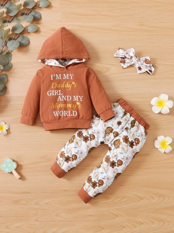 I'm My Daddy's Girl And My Mommy's World Flower Print Wholesale Baby Clothing Sets  Wholesale 13