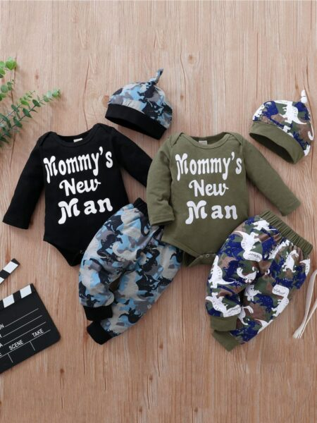 Mommy's New Man Dinosaur Wholesale Baby Clothing Sets Bodysuit & Pants & Hat  Wholesale BABIES 2021-09-04
