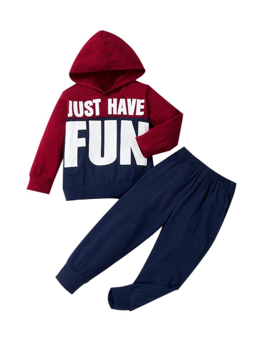 Just Have Fun Hi Color Hoodie And Pants Kid Boys Sets Wholesale Boy Boutique Clothes Wholesale