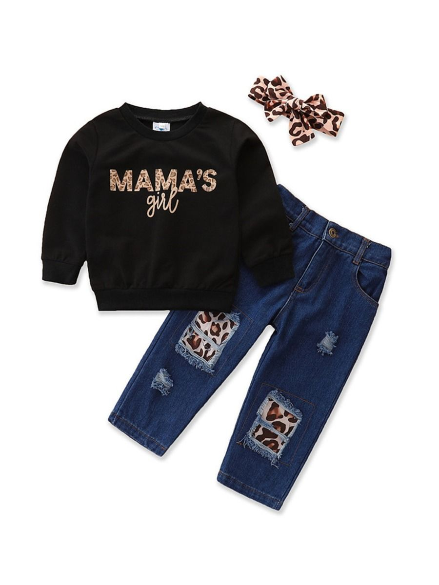 Mama's Girl Leopard Print Top And Jeans & Headband Wholesale Girls Clothes Sets  Wholesale