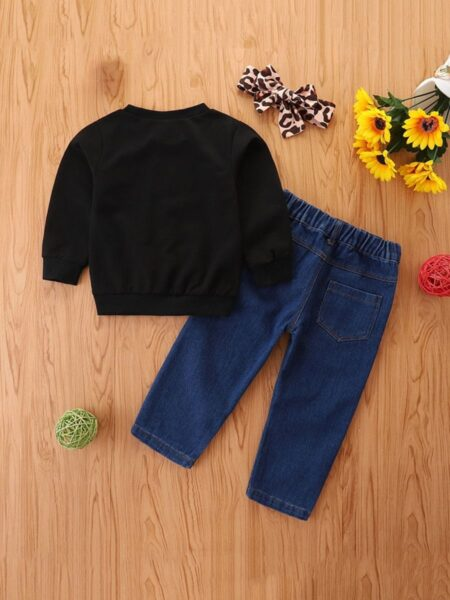Mama's Girl Leopard Print Top And Jeans & Headband Wholesale Girls Clothes Sets  Wholesale 2