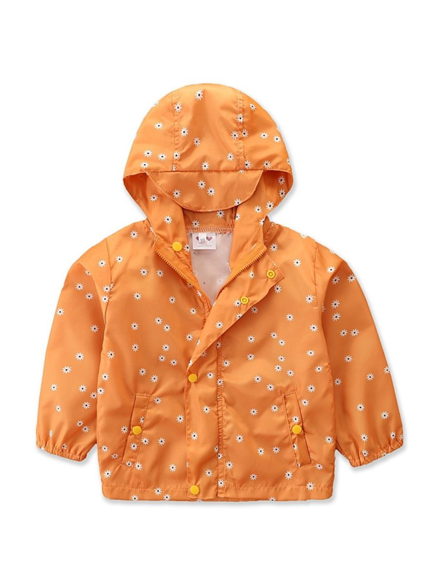 Floral Button Zip Up Hooded Jacket For Girls Wholesale Girls Clothes  Wholesale