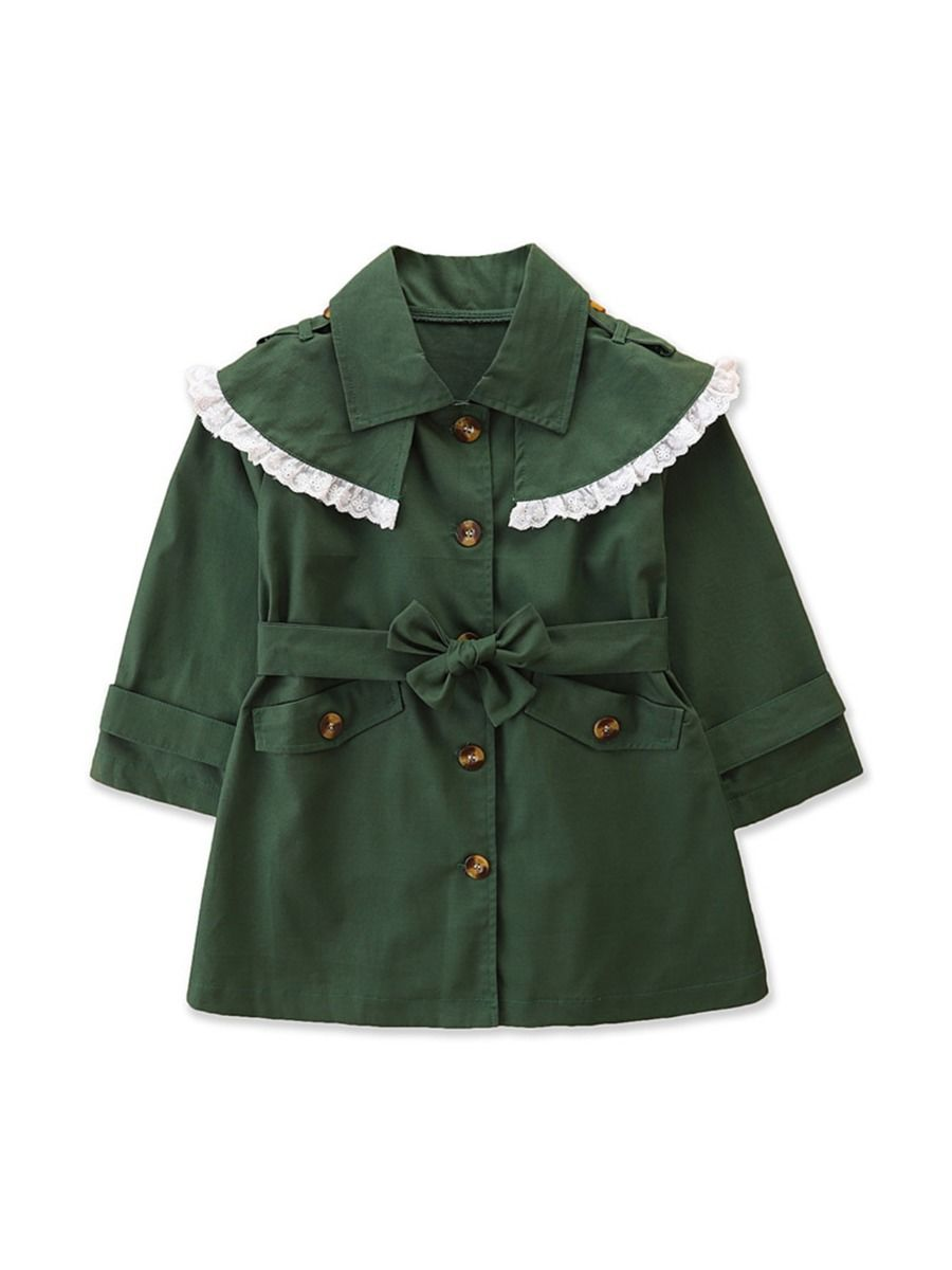 Lace Trim Green Trench Coat For Kid Girl Wholesale Girls Clothes  Wholesale