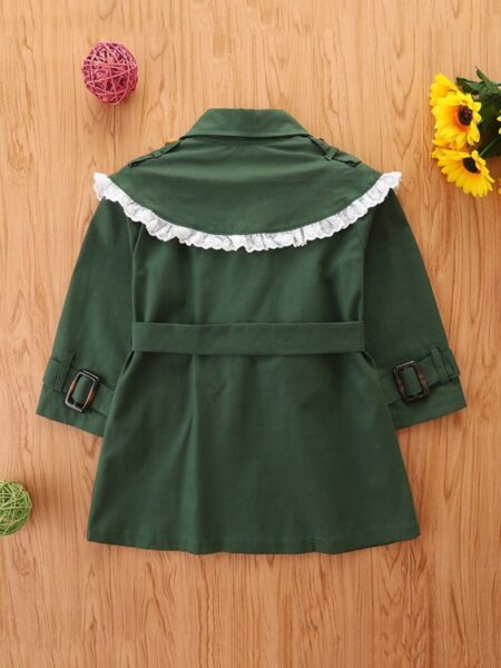 Lace Trim Green Trench Coat For Kid Girl Wholesale Girls Clothes  Wholesale 2