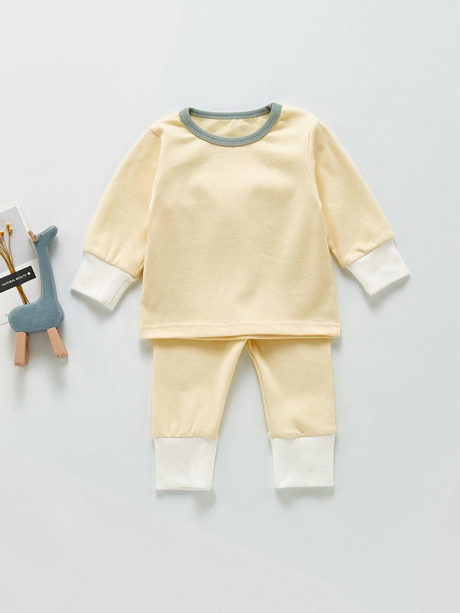 Plain Top & Pants Baby Loungewear Sets Wholesale Baby Clothes 3-24Months Cotton Blend Autumn Winter Wholesale