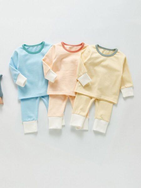 Plain Top & Pants Baby Loungewear Sets Wholesale Baby Clothes 3-24Months Cotton Blend Autumn Winter Wholesale 2